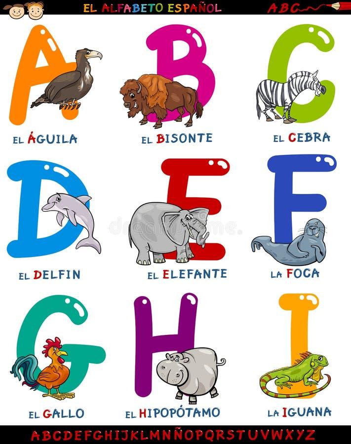 Ισπανικό αλφάβητο κινούμενων σχεδίων με τα ζώα απεικόνιση αποθεμάτων
