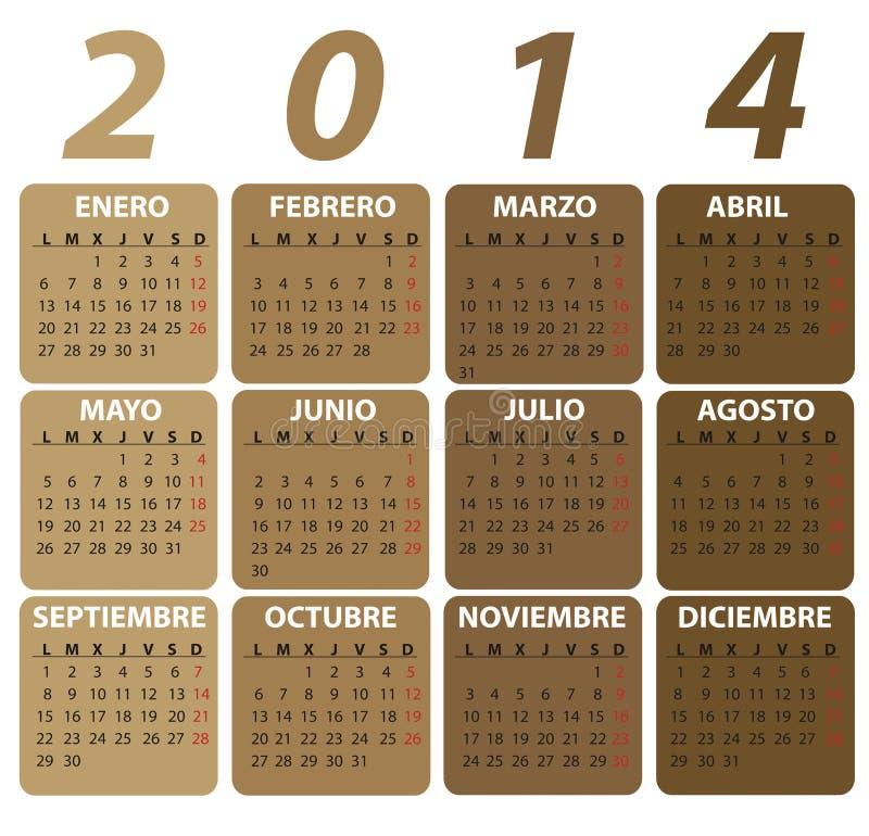 Ισπανικό ημερολόγιο για το 2014, κλασικό ύφος. στοκ εικόνες