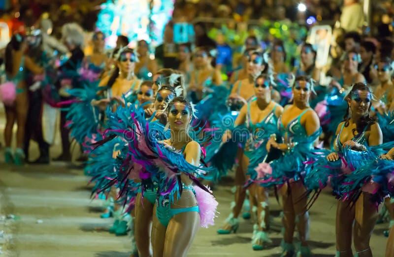 Ισπανικό καρναβάλι το βράδυ στοκ εικόνες