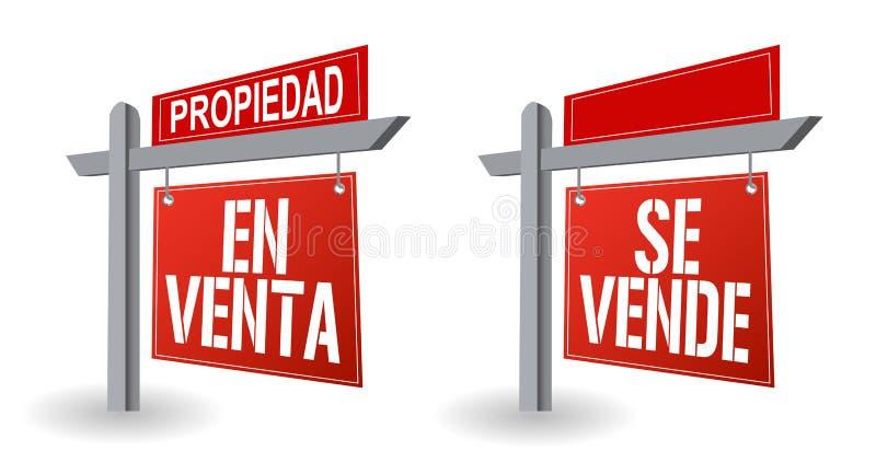 Ισπανικό σχέδιο απεικόνισης σημαδιών ακίνητων περιουσιών απεικόνιση αποθεμάτων