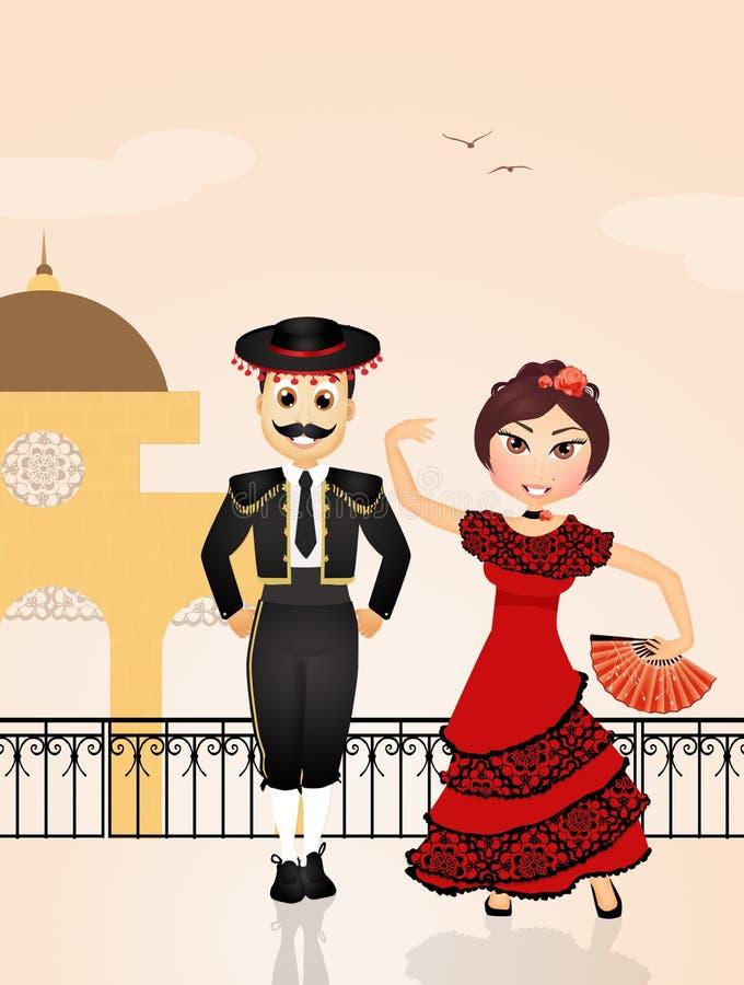 Ισπανικό Flamenco χορού ζευγών απεικόνιση αποθεμάτων