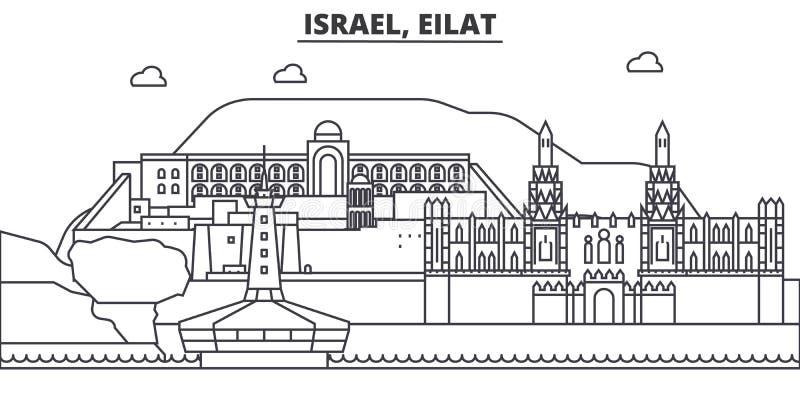 Ισραήλ, απεικόνιση οριζόντων γραμμών αρχιτεκτονικής Eilat Γραμμική διανυσματική εικονική παράσταση πόλης με τα διάσημα ορόσημα, θ διανυσματική απεικόνιση