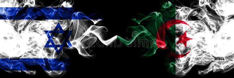 Ισραήλ εναντίον της Αλγερίας, αλγερινές καπνώείς απόκρυφες σημαίες που τοποθετούνται δίπλα-δίπλα Πυκνά χρωματισμένη μεταξωτή σημα απεικόνιση αποθεμάτων