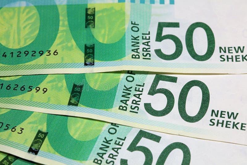 Ισραηλινά νέα τραπεζογραμμάτια Shekel στοκ εικόνες