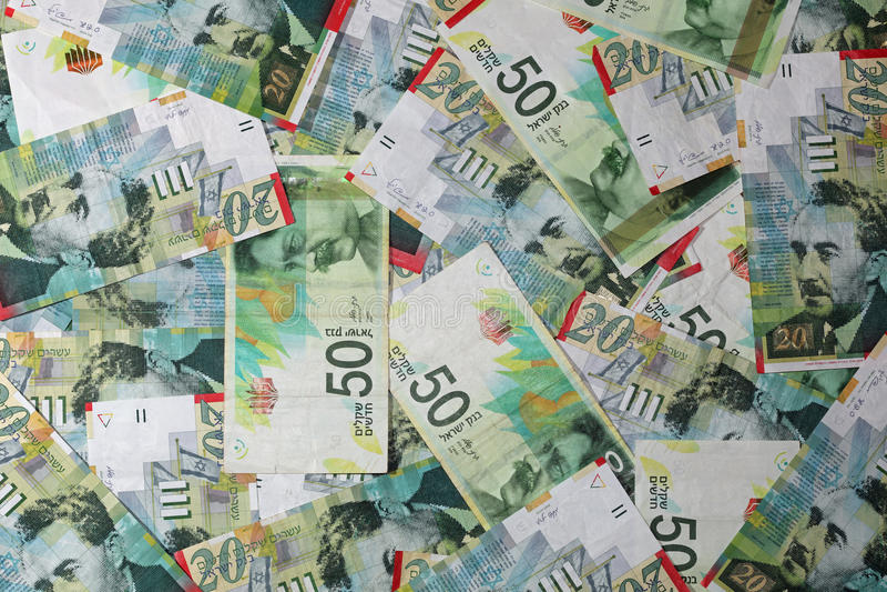 Ισραηλινά τραπεζογραμμάτια Shekel στοκ φωτογραφίες