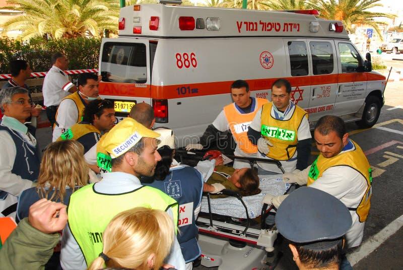 Ισραηλινές ιατρικές ομάδες που ασκούν ένα σενάριο μαζικών θυμάτων στοκ εικόνες