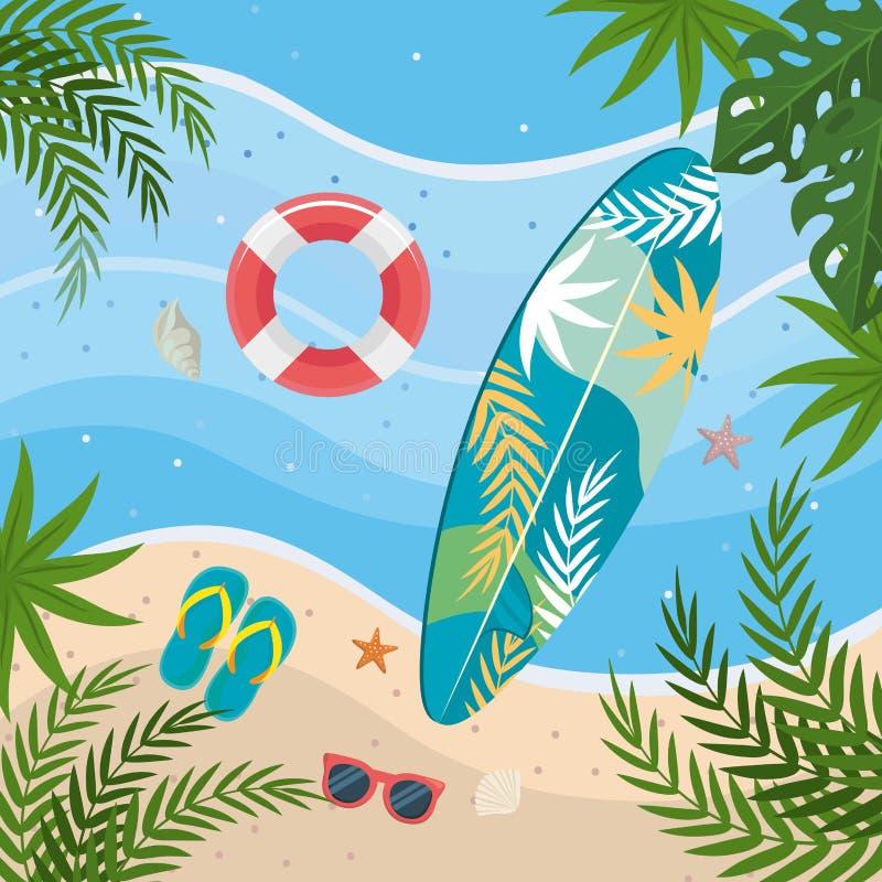 Ιστιοσανίδα με το επιπλέον σώμα και σαγιονάρες με τα γυαλιά ηλίου στην άμμο παραλιών διανυσματική απεικόνιση