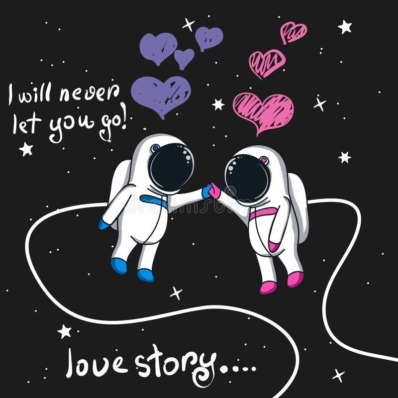 Ιστορία αγάπης των αστροναυτών αγοριών και κοριτσιών στο διάστημα ελεύθερη απεικόνιση δικαιώματος