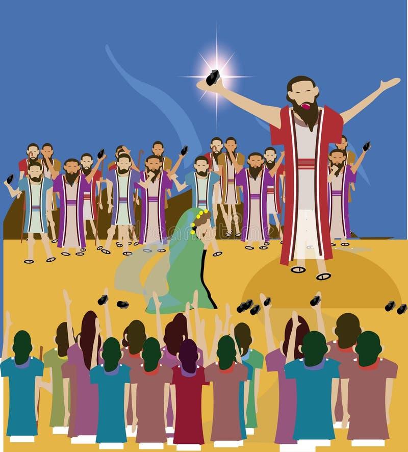 Ιστορία Ιησούς Βίβλων και η γυναίκα που λαμβάνεται στη μοιχεία διανυσματική απεικόνιση