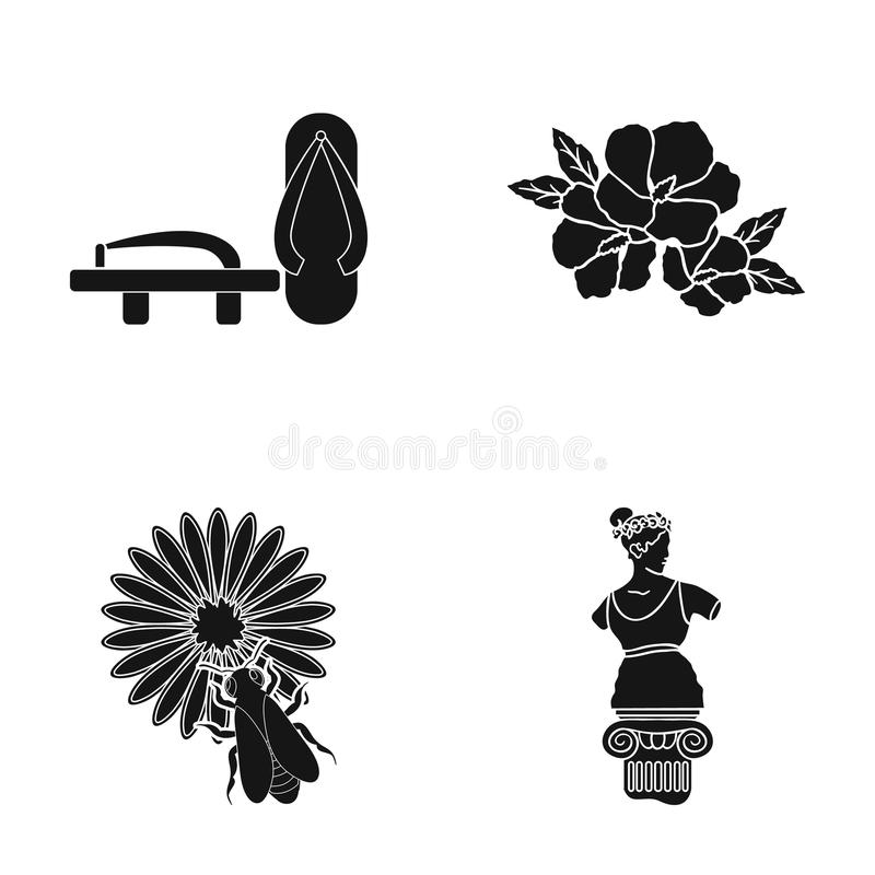 Ιστορία, μουσείο, Κίνα και άλλο εικονίδιο Ιστού στο μαύρο ύφος γλυπτό, Aphrodite, άγαλμα, εικονίδια στην καθορισμένη συλλογή ελεύθερη απεικόνιση δικαιώματος