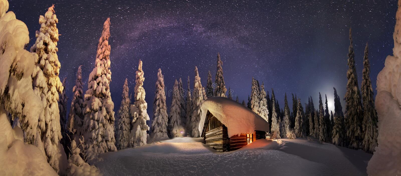 Ιστορία Χριστουγέννων για τους ορειβάτες) στοκ φωτογραφία