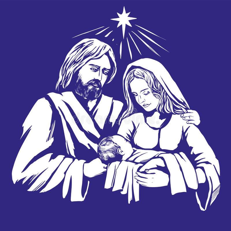 Ιστορία Χριστουγέννων Mary, Joseph και το μωρό Ιησούς, γιος του Θεού, σύμβολο της συρμένης χέρι διανυσματικής απεικόνισης χριστια διανυσματική απεικόνιση