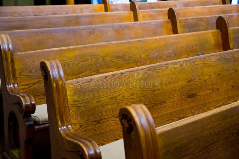 Ιστορικά ξύλινα Pews εκκλησιών στοκ φωτογραφία με δικαίωμα ελεύθερης χρήσης