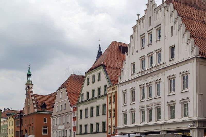 Ιστορικά σπίτια σε Straubing, Γερμανία στοκ φωτογραφία με δικαίωμα ελεύθερης χρήσης