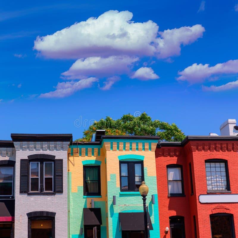 Ιστορικές προσόψεις Ουάσιγκτον περιοχής της Τζωρτζτάουν στοκ φωτογραφία