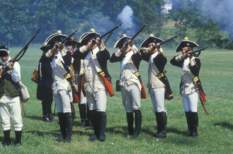 Ιστορική αναπαράσταση, Ντάνιελ Boone Homestead, ταξιαρχία της αμερικανικής επανάστασης, ηπειρωτικό πεζικό στρατού στοκ εικόνες με δικαίωμα ελεύθερης χρήσης
