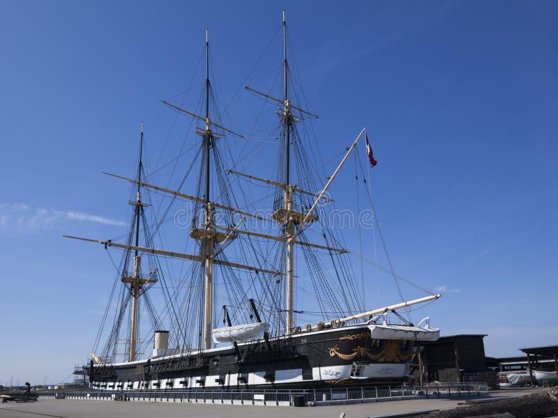Ιστορική δανική φρεγάτα Jylland σε Ebeltoft στοκ εικόνα με δικαίωμα ελεύθερης χρήσης