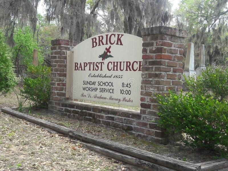 Ιστορική βαπτιστική εκκλησία τούβλου στοκ εικόνες
