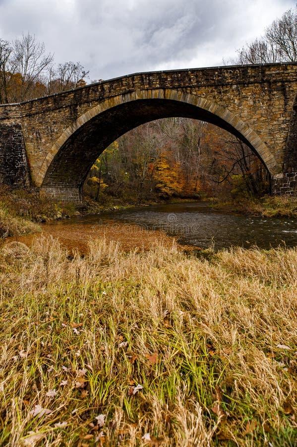 Ιστορική γέφυρα αψίδων Casselman πέτρινη - λαμπρότητα φθινοπώρου - κομητεία του Garrett, Μέρυλαντ στοκ φωτογραφίες