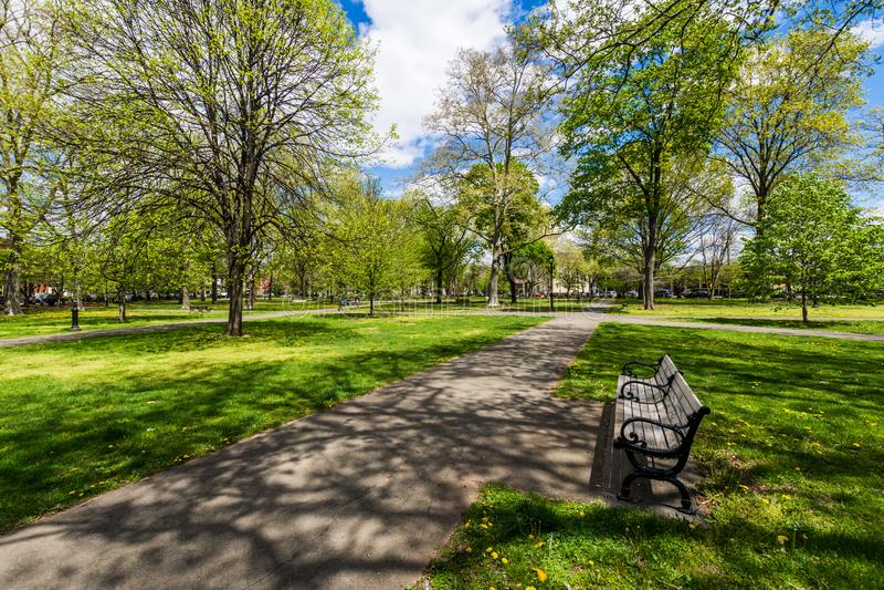 Ιστορική περιοχή της οδού δικαστηρίου στην πλατεία Wooster στο Νιού Χάβεν στοκ εικόνα με δικαίωμα ελεύθερης χρήσης