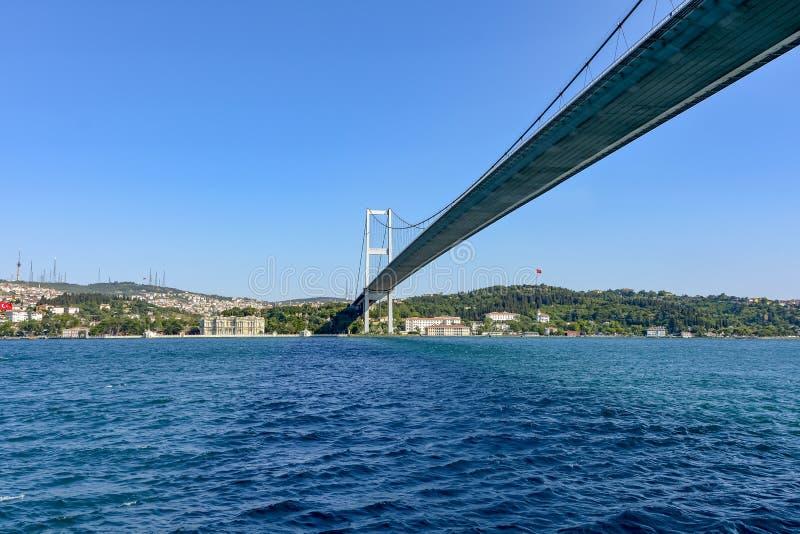 Ιστορική πόλη της Ιστανμπούλ και των κτηρίων του και γέφυρα πέρα από το Bosphorus στοκ εικόνες
