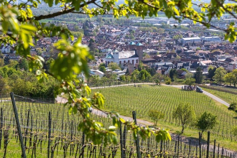 Ιστορική πόλη bensheim στο hesse Γερμανία με whine τους αμπελώνες στοκ φωτογραφία με δικαίωμα ελεύθερης χρήσης