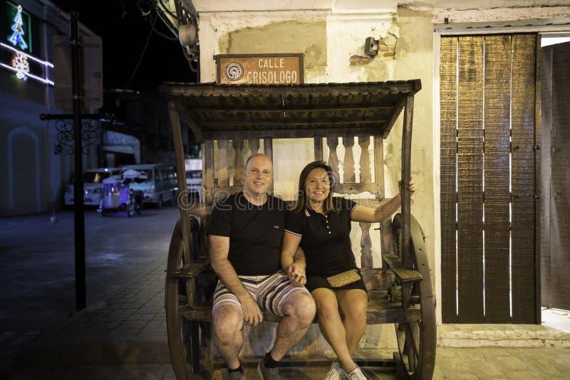 Ιστορική πόλη Vigan, illocos sur, Φιλιππίνες, άποψη οδών στοκ εικόνα με δικαίωμα ελεύθερης χρήσης