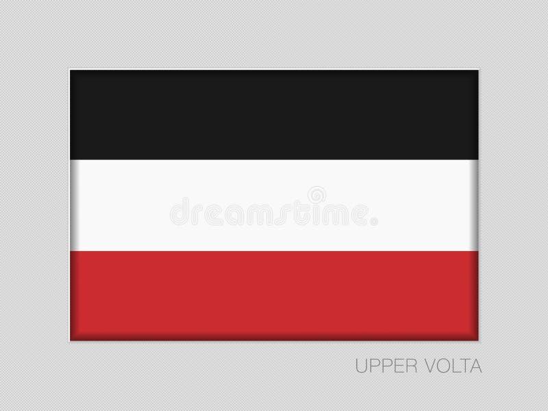 Ιστορική σημαία ανώτερου Volta Εθνικός Ensign λόγος διάστασης 2 έως 3 στο γκρίζο χαρτόνι ελεύθερη απεικόνιση δικαιώματος