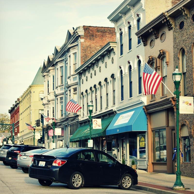 Ιστορική στο κέντρο της πόλης Τζωρτζτάουν, Κεντάκυ στοκ εικόνα