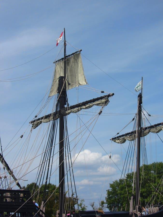Ιστορικοί αναπαραγωγής ιστοί σκαφών του Columbus πλέοντας στοκ φωτογραφία με δικαίωμα ελεύθερης χρήσης