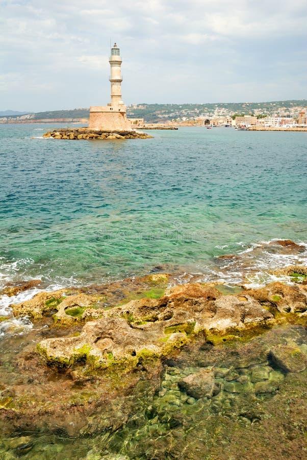 Ιστορικοί φάρος και θάλασσα σε Chania στοκ εικόνες