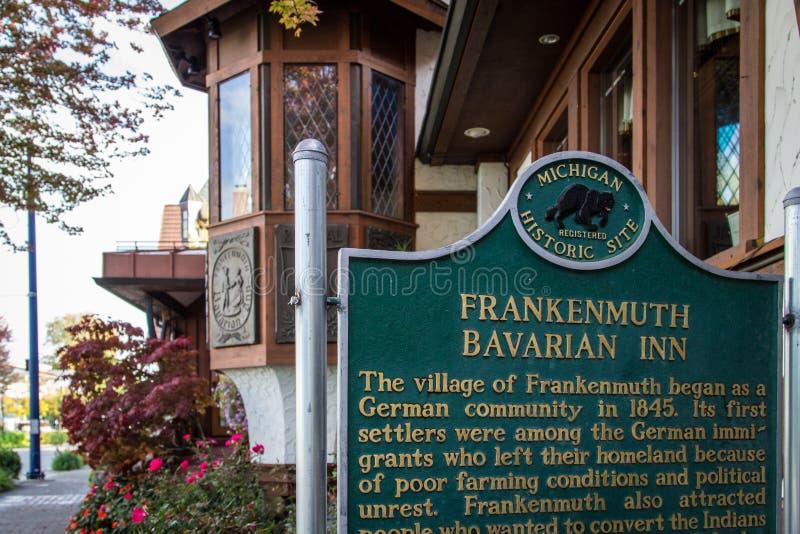 Ιστορικός δείκτης πανδοχείων Frankenmuth βαυαρικός στοκ φωτογραφία με δικαίωμα ελεύθερης χρήσης