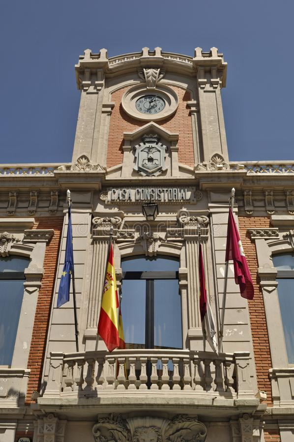 Ιστορικός πύργος townhall στο Albacete - την Ισπανία στοκ φωτογραφίες