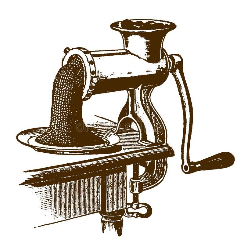 Ιστορικός hand-powered μηχανή κοπής κιμά ή μπαλτάς με τον κιμά που βγαίνει από τη μηχανή διανυσματική απεικόνιση