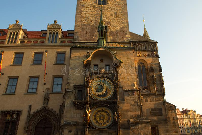 Ιστορικό αστρονομικό ρολόι στην παλαιά πλατεία της πόλης στην Πράγα, Czec στοκ εικόνες