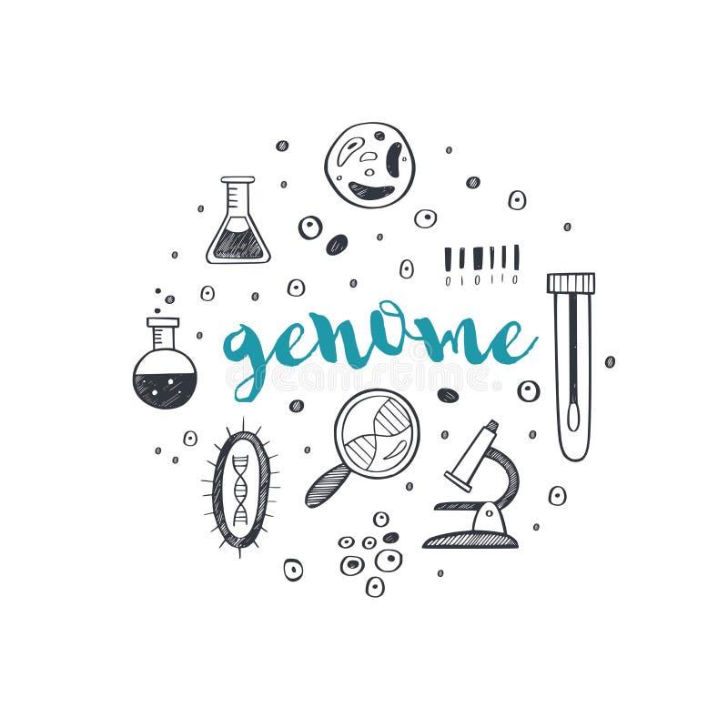 Ιστορικό γενετικής μηχανικής και ιατρικής έρευνας Έλικα DNA, στοιχεία δοκιμής γονιδιώματος Χημικό εργαστήριο διανυσματική απεικόνιση