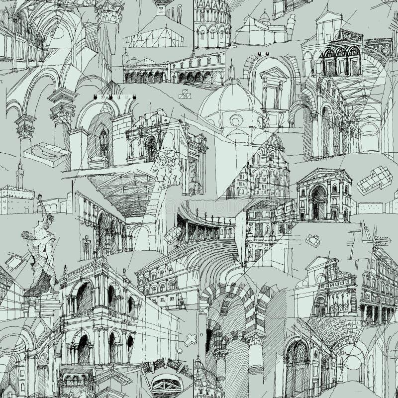 Ιστορικό ιταλικό άνευ ραφής σχέδιο κολάζ αρχιτεκτονικής απεικόνιση αποθεμάτων