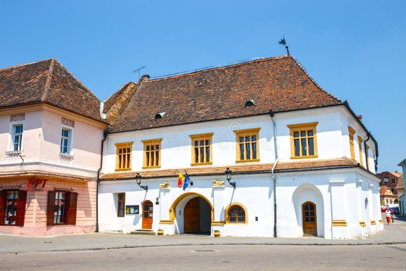 Ιστορικό κέντρο του MEDIA, μεσαιωνική πόλη στην Τρανσυλβανία, Ρουμανία στοκ εικόνα