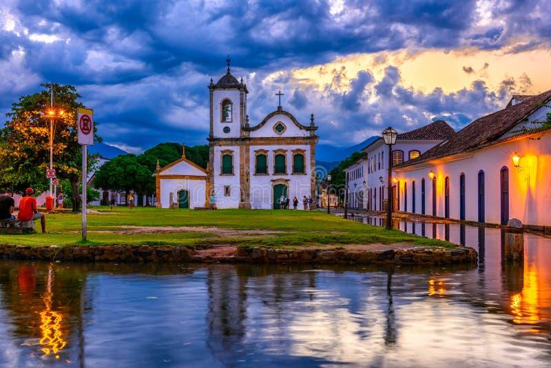 Ιστορικό κέντρο Paraty τη νύχτα, Ρίο ντε Τζανέιρο, Βραζιλία στοκ φωτογραφίες
