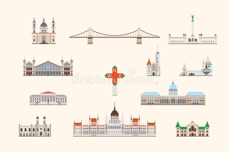 Ιστορικό κτήριο της Βουδαπέστης διανυσματική απεικόνιση