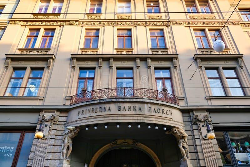 Ιστορικό κτήριο Banka Ζάγκρεμπ Privredna, Κροατία στοκ εικόνες
