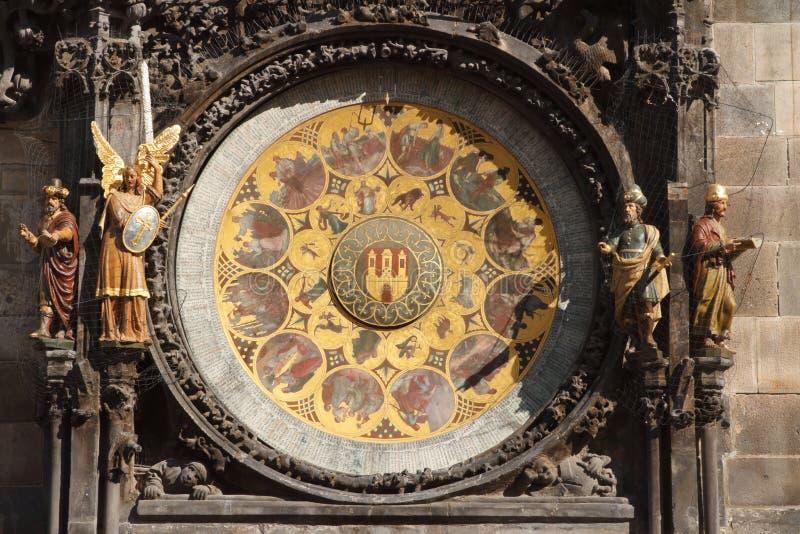 Ιστορικό μεσαιωνικό αστρονομικό ρολόι στην Πράγα στην παλαιά πόλη Hal στοκ εικόνες με δικαίωμα ελεύθερης χρήσης