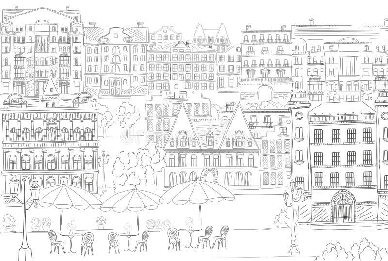 Ιστορικό παλαιό ύφος γραμμών κτηρίων Παλαιό κτήριο ζωής πόλεων περιλήψεων Αρχιτεκτονικό σκίτσο απεικόνιση αποθεμάτων