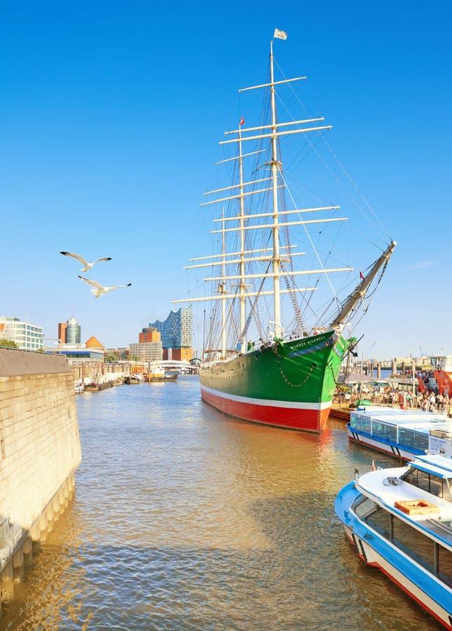 Ιστορικό πλέοντας σκάφος Rickmer Rickmers στο Αμβούργο, Γερμανία στοκ εικόνες