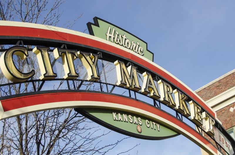 Ιστορικό σημάδι αγοράς πόλεων πόλεων του Κάνσας στοκ εικόνες
