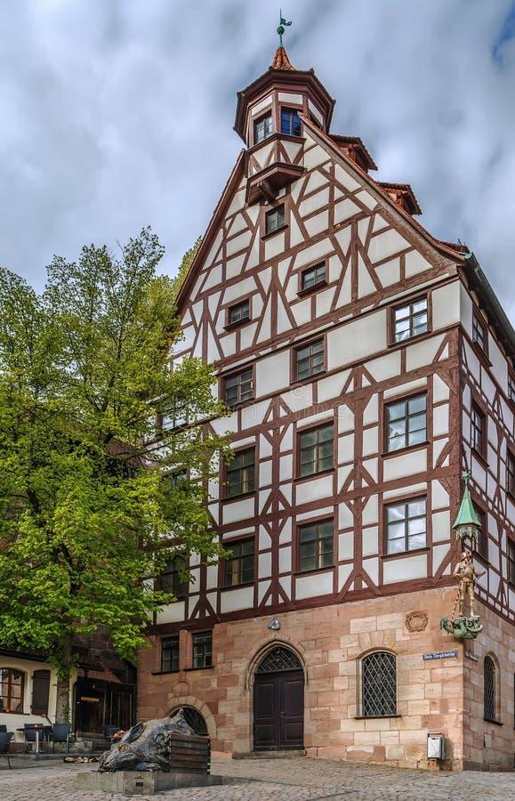 Ιστορικό σπίτι στη Νυρεμβέργη, Γερμανία στοκ εικόνες