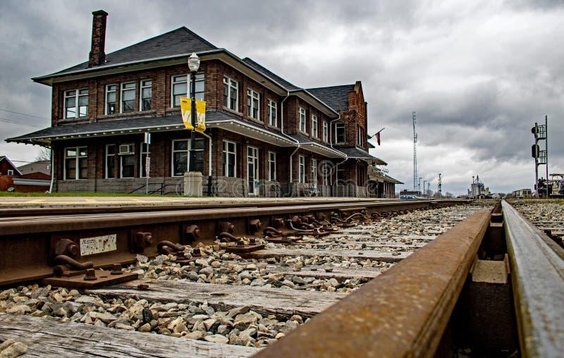 Ιστορικό Stratford, σταθμός τρένου του Οντάριο, Καναδάς στοκ εικόνα με δικαίωμα ελεύθερης χρήσης