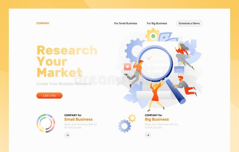 Ιστοσελίδας έρευνας αγοράς διανυσματική απεικόνιση
