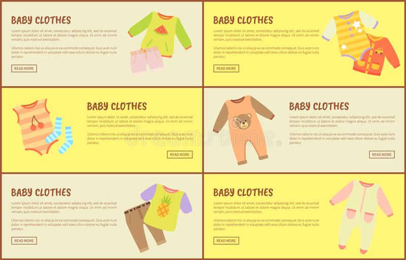 Ιστοσελίδας ενδυμάτων μωρών καθορισμένες τη διανυσματική απεικόνιση διανυσματική απεικόνιση