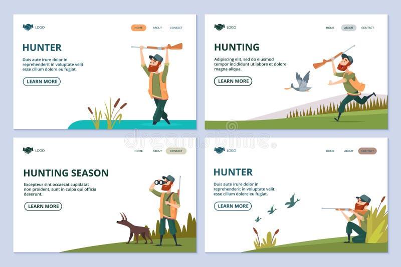 Ιστοσελίδας κυνηγιού Κυνηγός με το πυροβόλο όπλο, σκυλί, διανυσματικά εμβλήματα παπιών απεικόνιση αποθεμάτων